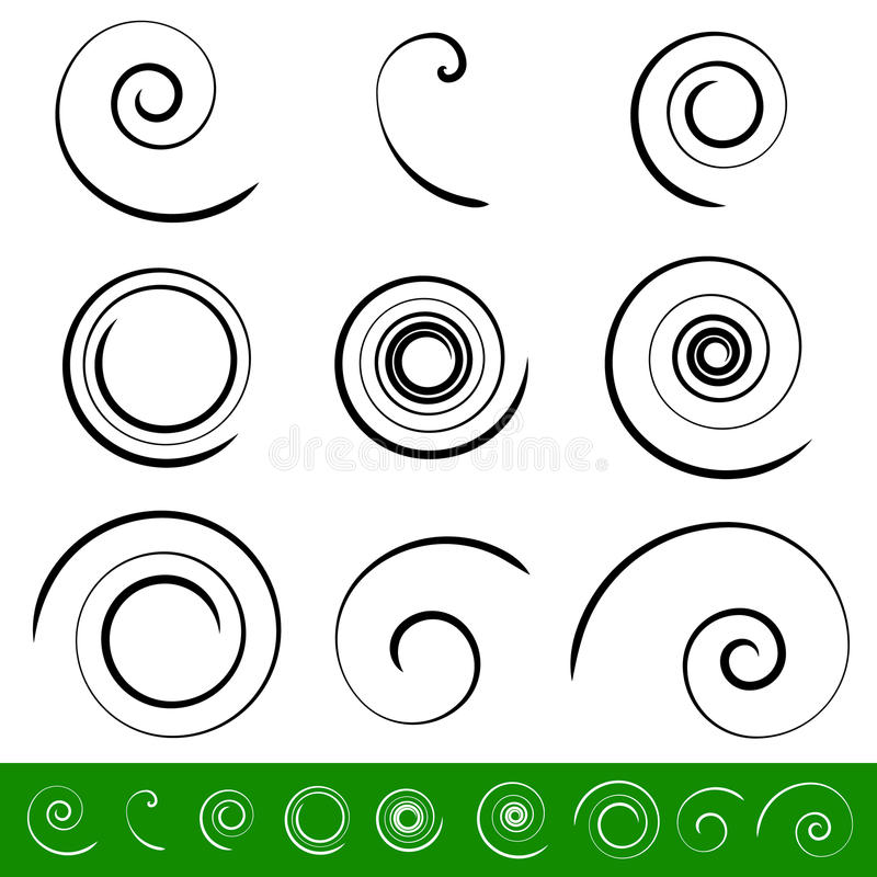 Spiral virvelbeståndsdeluppsättning 9 olika runda former spiral royaltyfri illustrationer