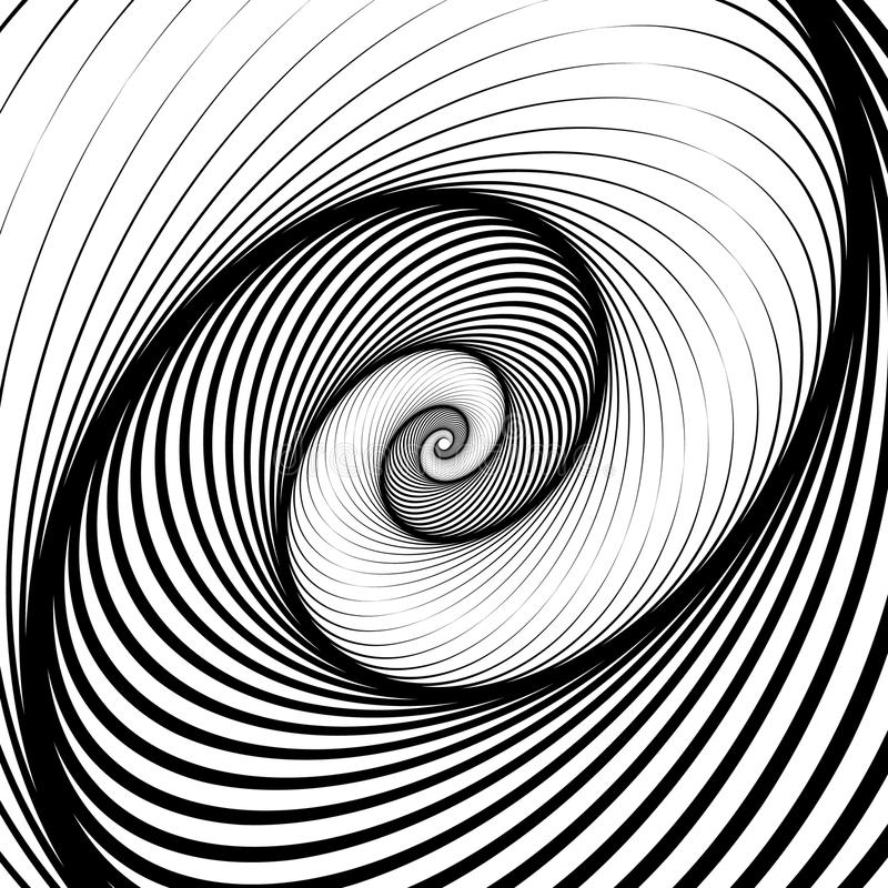 Spiral, volute background - Rotating radiating, concentric ellip. Se, oval shapes. Black and white pattern. - Royalty free vector illustration royalty free illustration