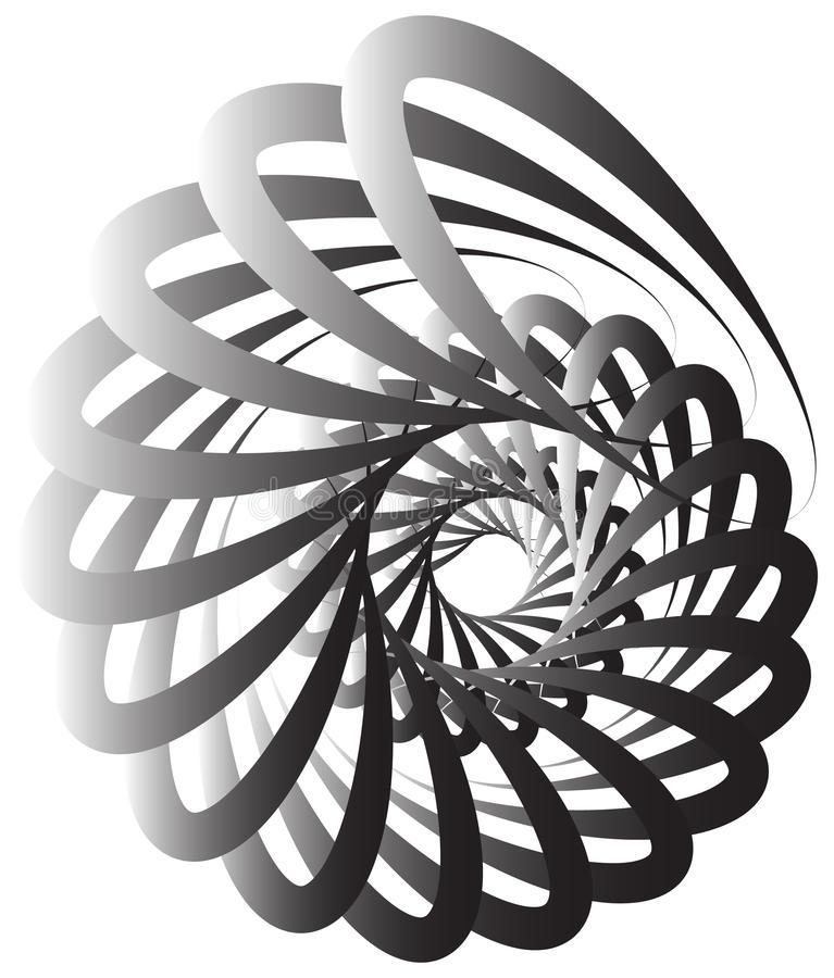 Spiral volute, snail shape, element. Rotating, twirling abstract. Monochrome illustration. Circular curlicue, twisting lines. - Royalty free vector illustration stock illustration