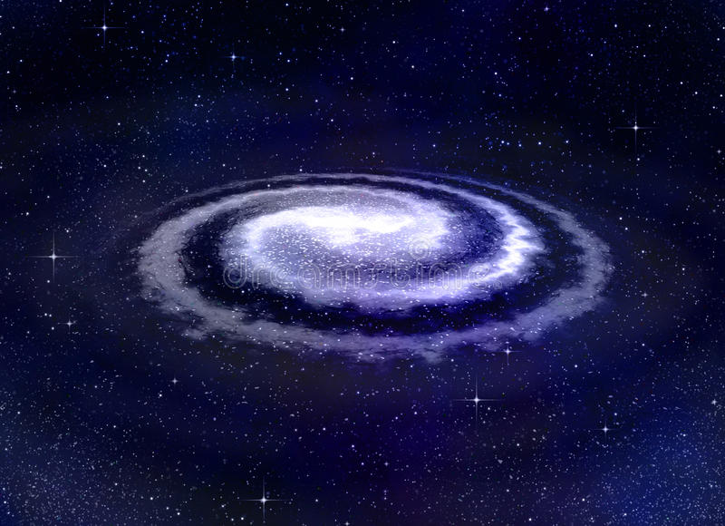 Spiral vortex galaxy in space vector illustration