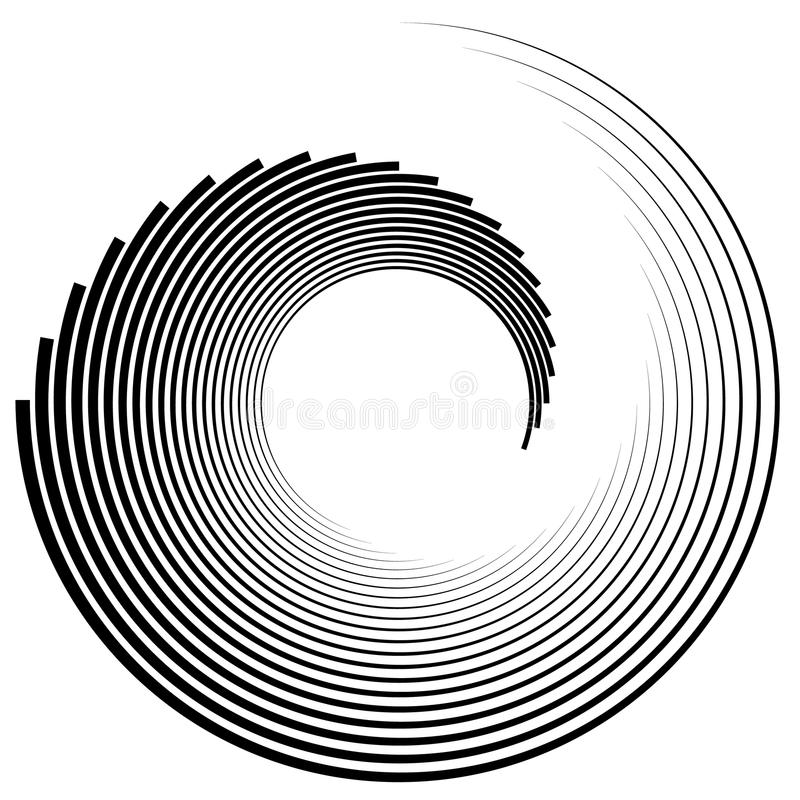 Spiral, vortex shape, element. Inward spiral isolated on white. Royalty free vector illustration vector illustration
