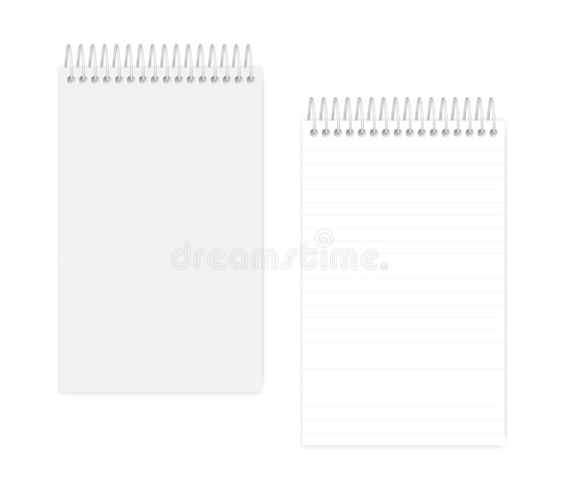 Spiral wire bound junior legal size lined notepad, realistic mockup royalty free illustration