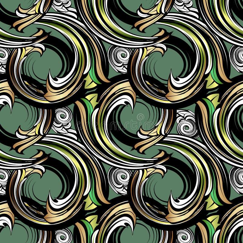 Spirala Barokowy wektorowy bezszwowy wzór Nowożytny ornamentacyjny geome ilustracji