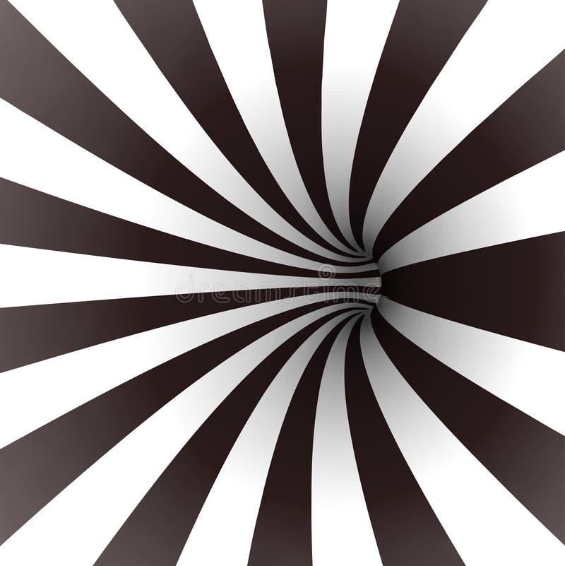 Spirala czarny i biały tunel. Wektor ilustracja wektor