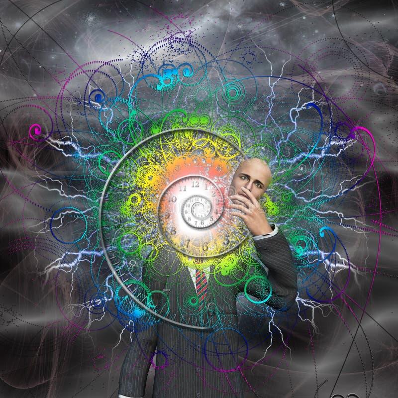 Spirala czas i energia wybuchamy od mężczyzna ilustracji