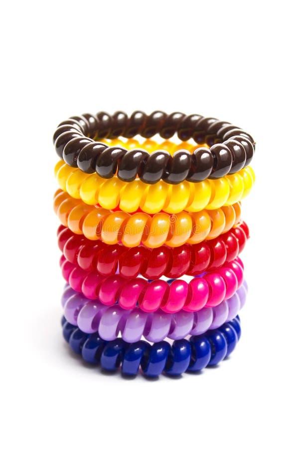 Spirala elastiska gummiband för hår arkivbild