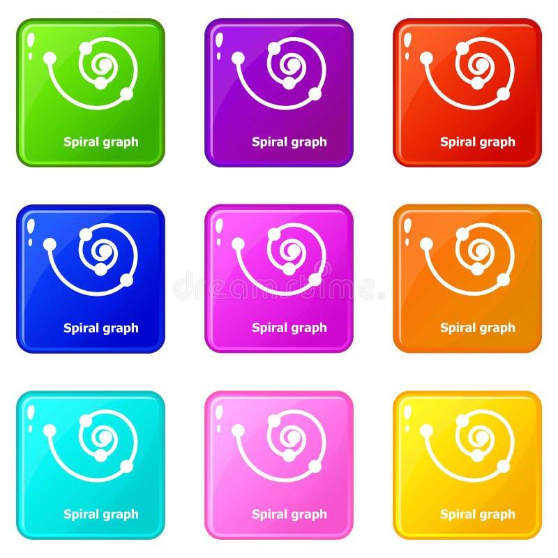 Spirala grafsymboler ställde in samlingen för 9 färg stock illustrationer