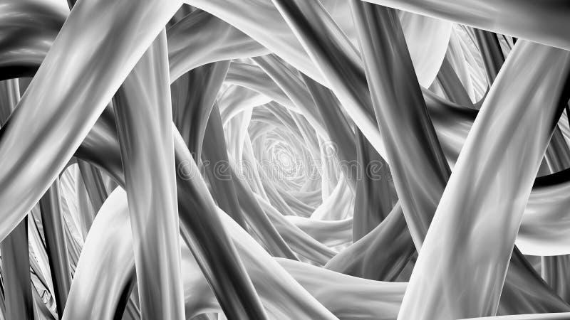 Spirala kształtujący fractal paskuje czarny i biały ilustracja wektor