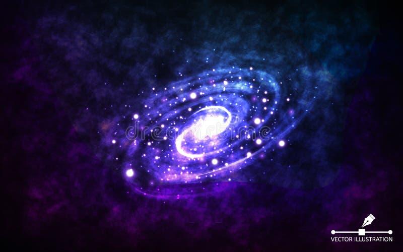 Spiralarm auf Raumhintergrund Realistische abstrakte Galaxie mit Farbnebelfleck Kosmischer Hintergrund mit stardust und vektor abbildung