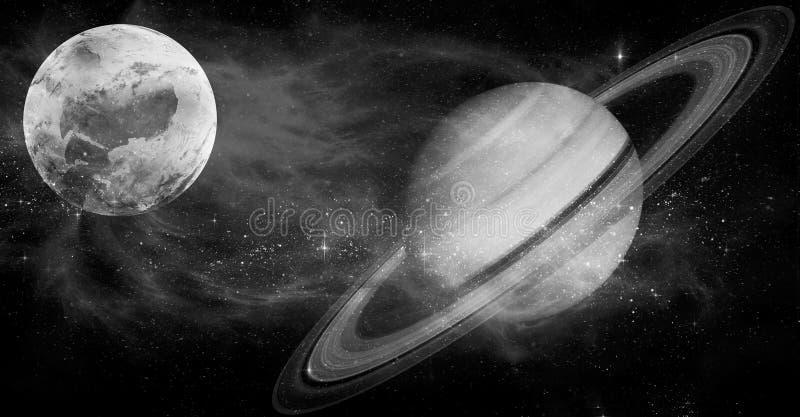 Spiralarm und Planet im Weltraum, Schwarzweiss-Bild stockfoto