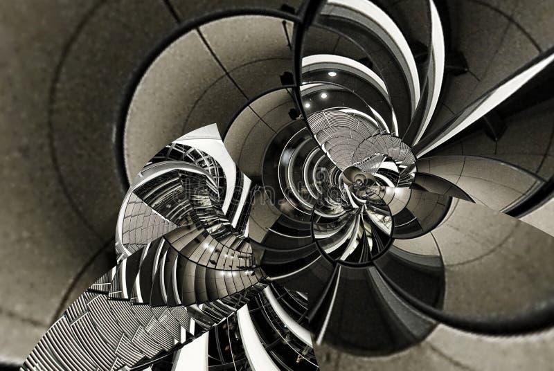 Spirale abstraite d'architecture de texture de vintage des escaliers, escalier, verre, métal, acier Ligne ronde la géométrie de c images libres de droits