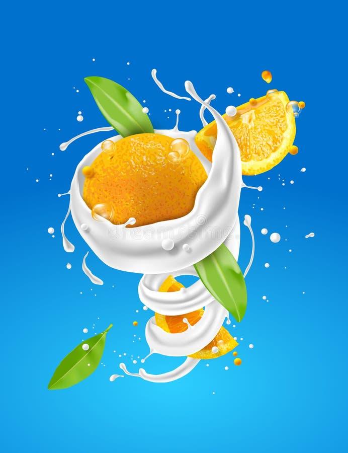 Spirale astratta del latte e torto con frutta arancio su fondo blu illustrazione di stock