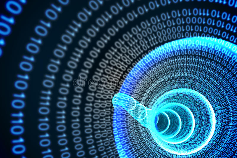Spirale binaire avec la lueur bleue illustration de vecteur