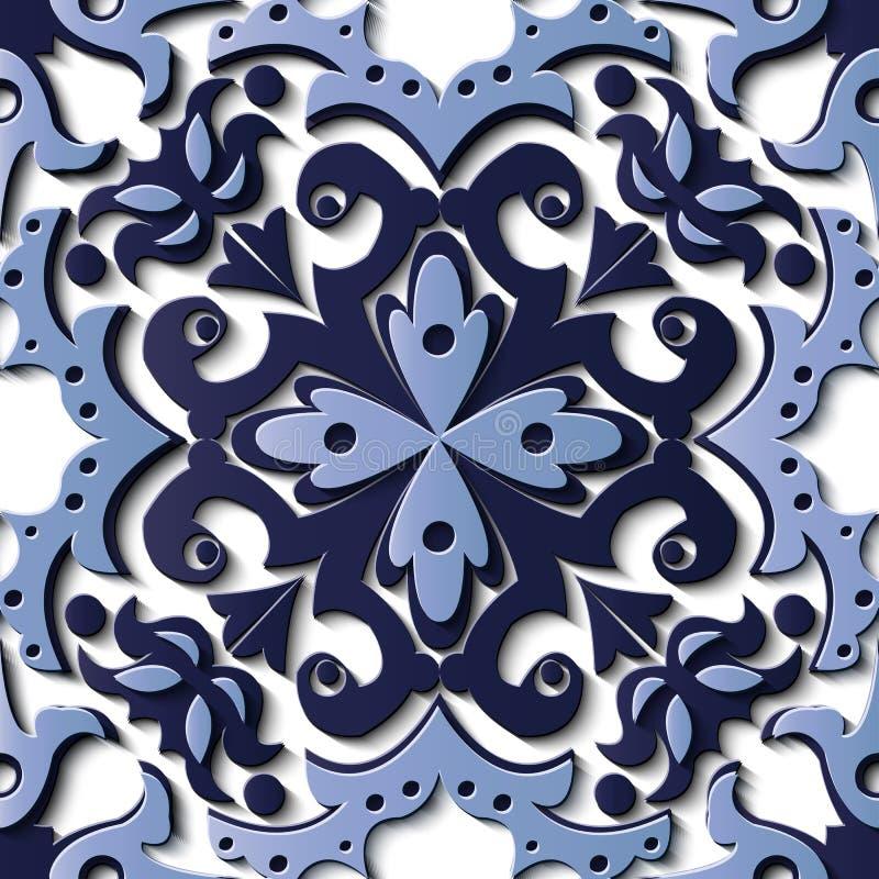 Spirale bleue c en soulagement de sculpture modèle sans couture de décoration de rétro illustration de vecteur