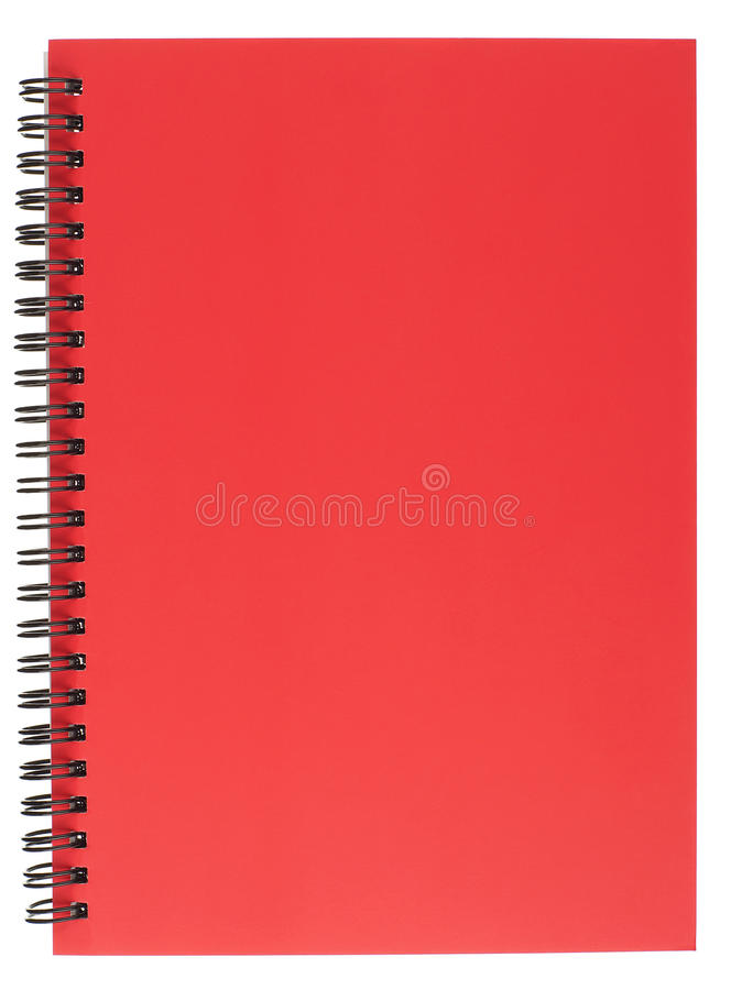 Spirale - blocchetto per appunti rilegato con il coperchio rosso fotografie stock