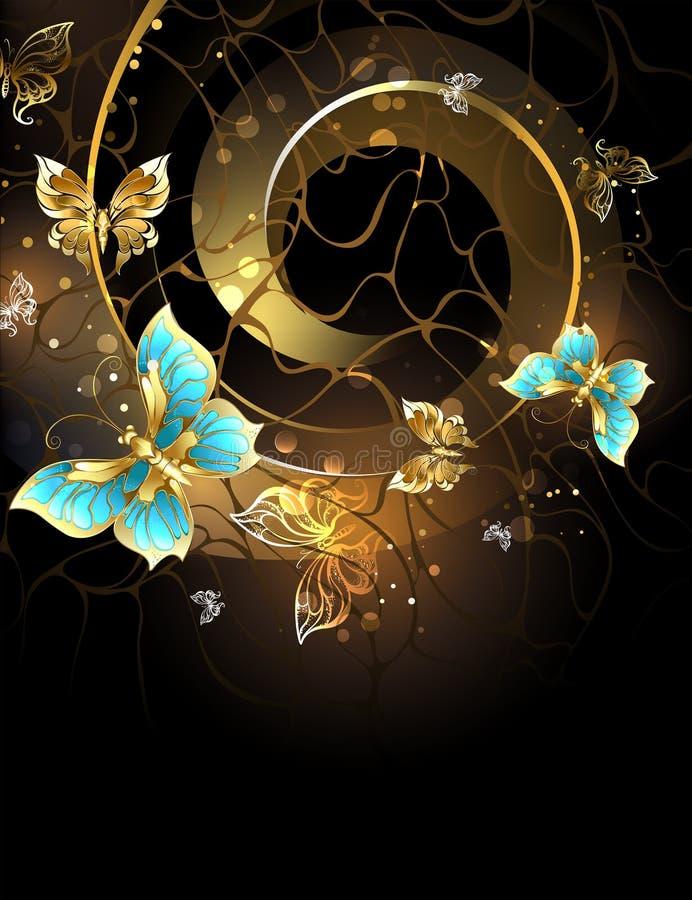 Spirale con le farfalle dell'oro illustrazione di stock