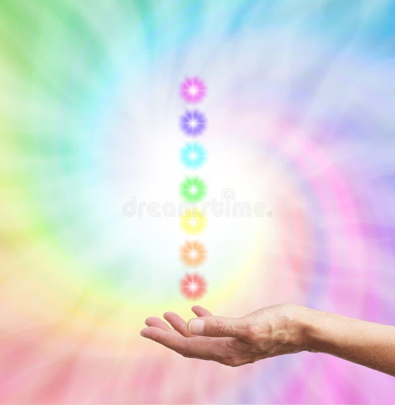 Spirale curativa dell'arcobaleno di Chakra fotografie stock