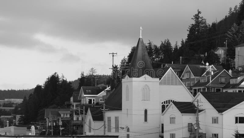 Spirale della chiesa di Ketchikan Alaska immagini stock libere da diritti