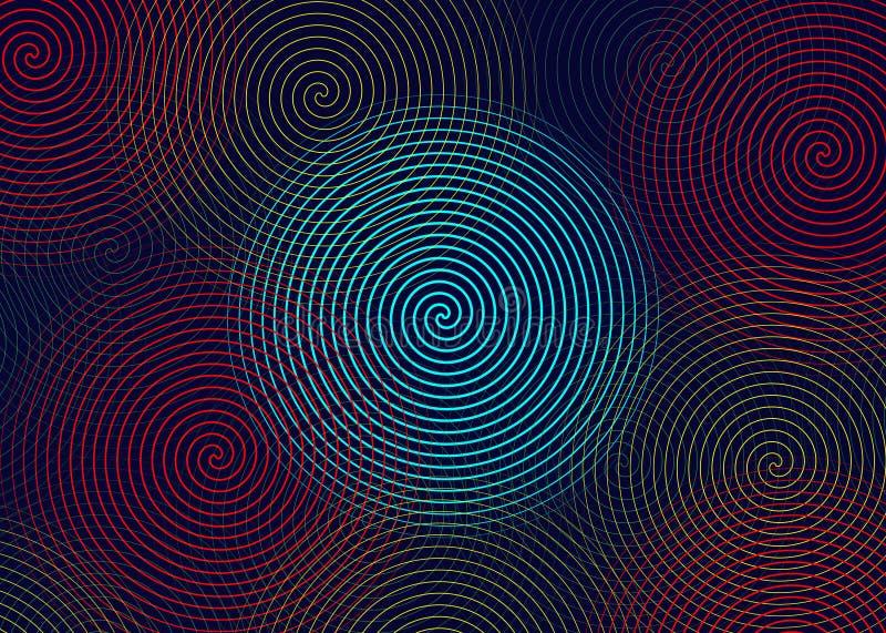 Spirale des farbigen Kreises gezeichnet Konzentrischer Kreis-Elementhintergrund Abstraktes geometrisches Muster der Twist-Ringe R stock abbildung
