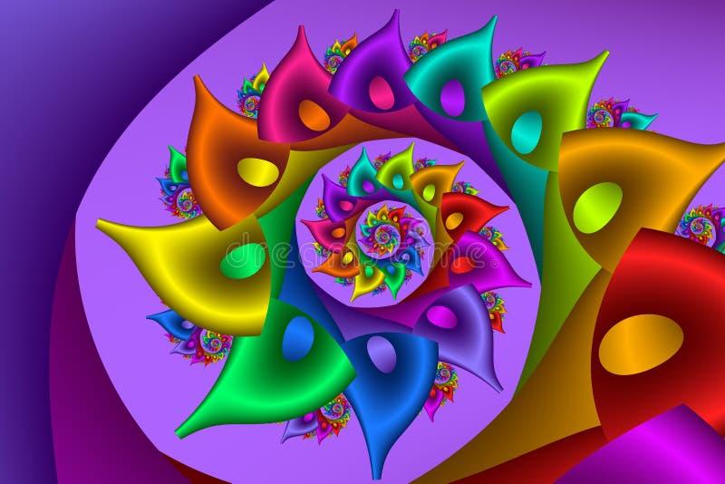 Spirale di frattale dell'arcobaleno illustrazione di stock