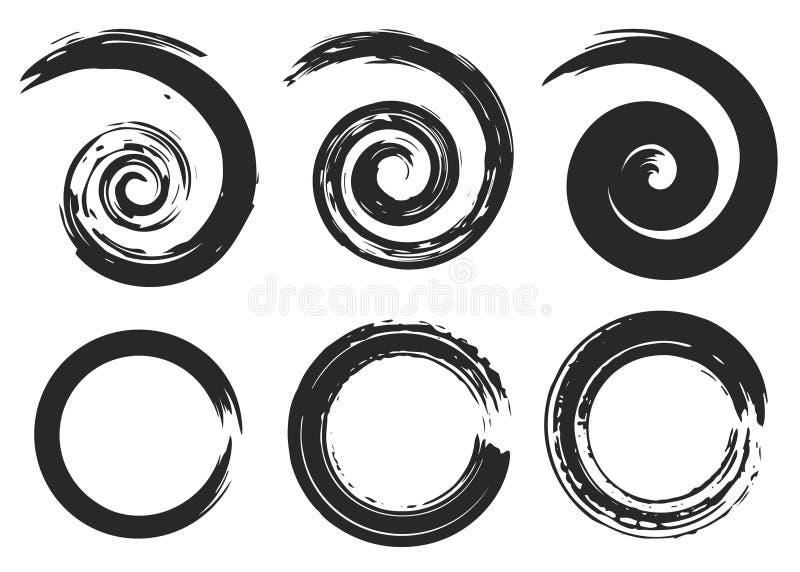 Spirale di vettore ed elementi astratti dei cerchi, modelli a strisce geometrici radiali royalty illustrazione gratis