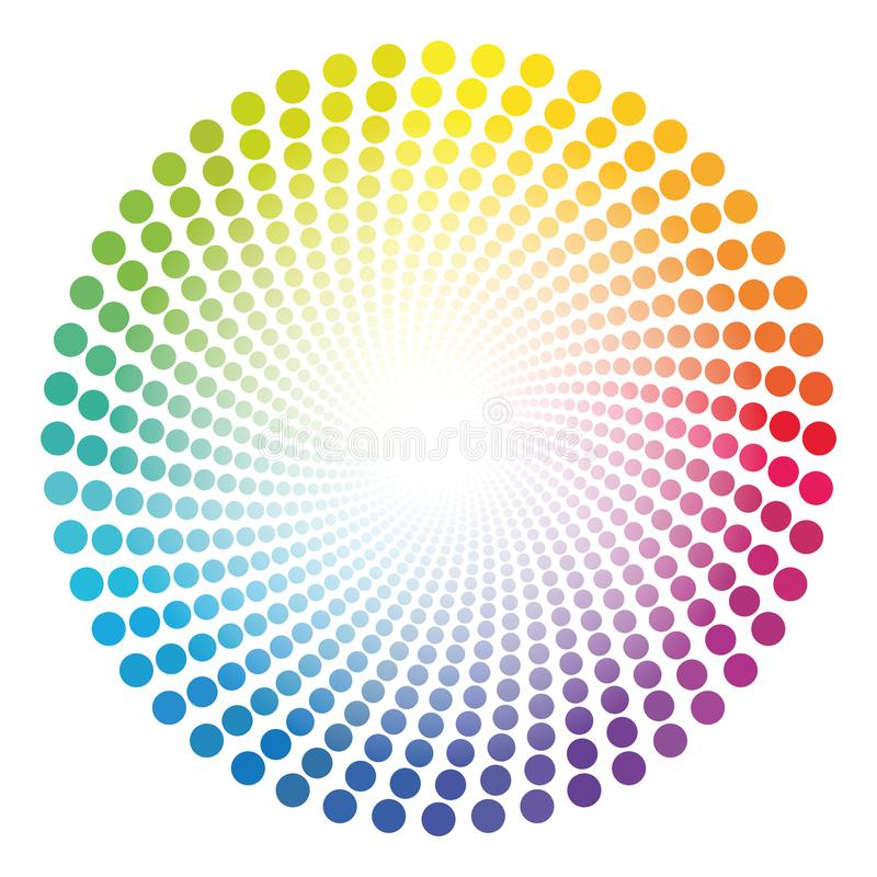 Spirale Dots Tube Rainbow Colored Circular Pattern. Spiral dots tube pattern - rainbow colored twisted circle illustration with white shining glowing center royalty free illustration