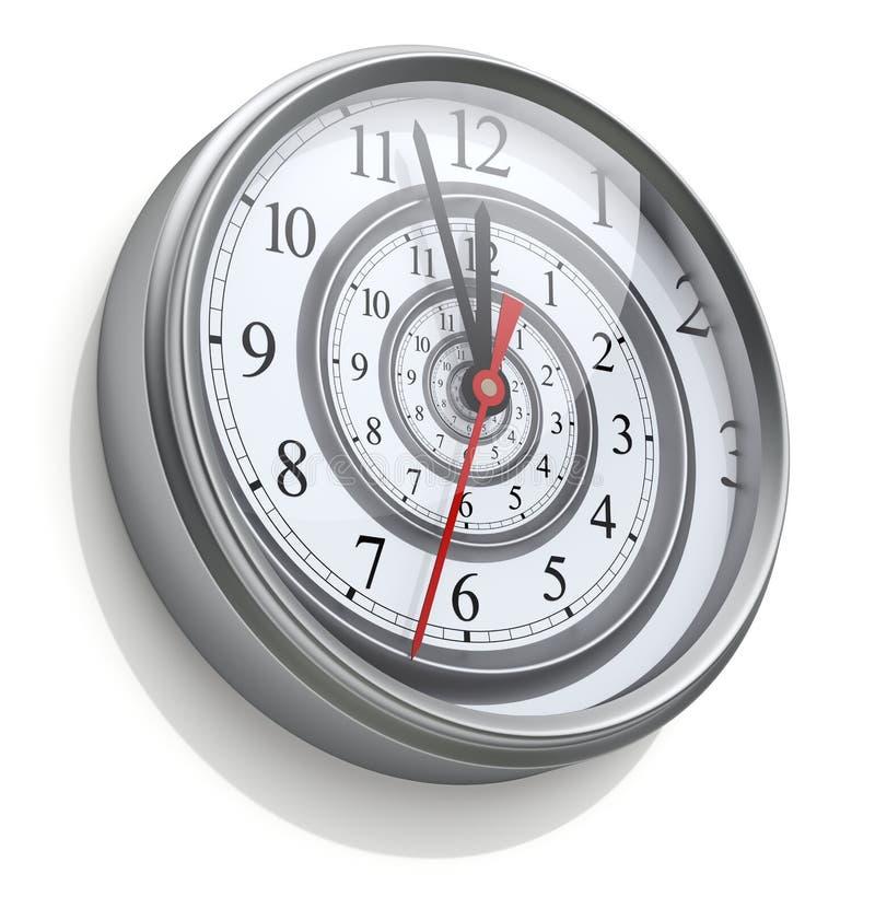 Spirale infinie de temps dans l'horloge murale illustration libre de droits