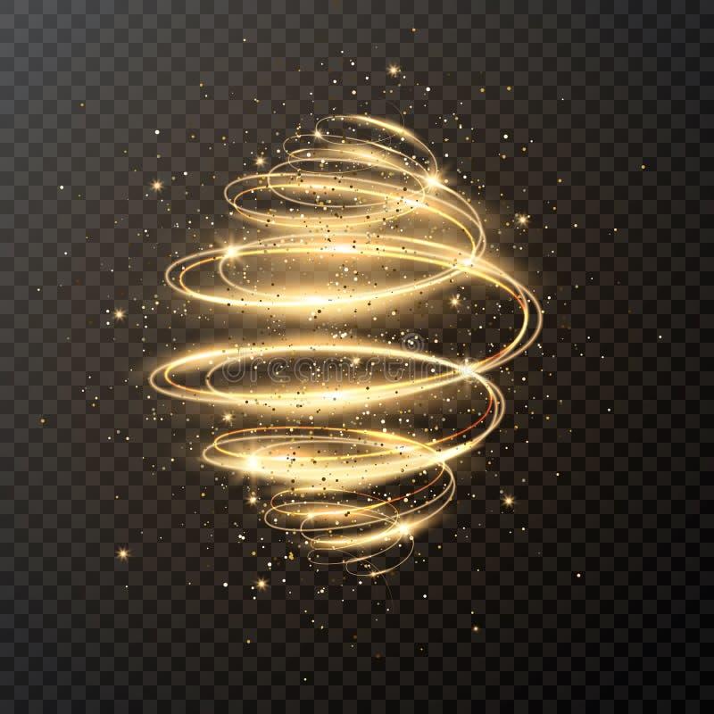 Spirale leggera di lusso con scintillio e le stelle Disegno di natale Effetto magico della traccia di turbinio della scintilla su illustrazione di stock