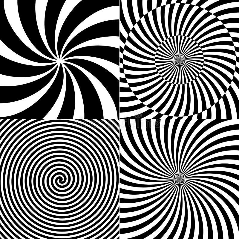 Spirale psichedelica ipnotica in bianco e nero con i raggi radiali, modello stabilito della raccolta del fondo di rotazione Vetto illustrazione vettoriale