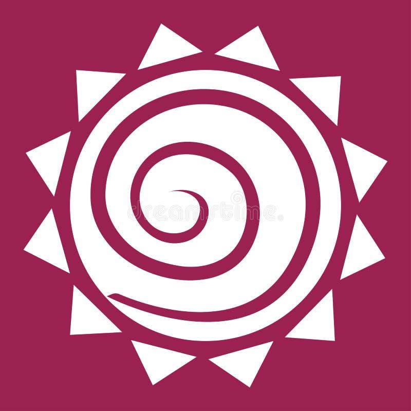 Spirale in sole bianco su fondo rosso, vettore illustrazione vettoriale
