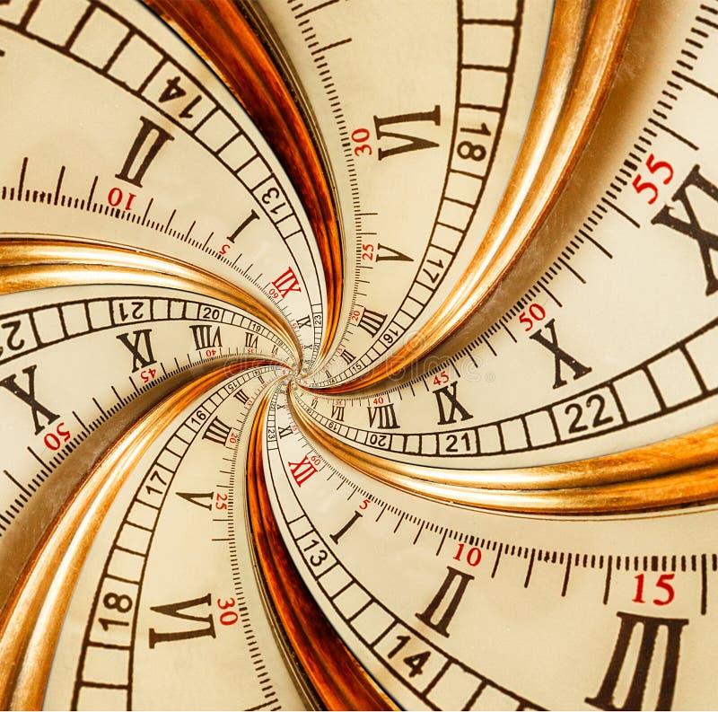 Spirale vecchia antica del doppio di frattale dell'estratto dell'orologio Fondo a spirale surreale del modello di frattale di str immagine stock