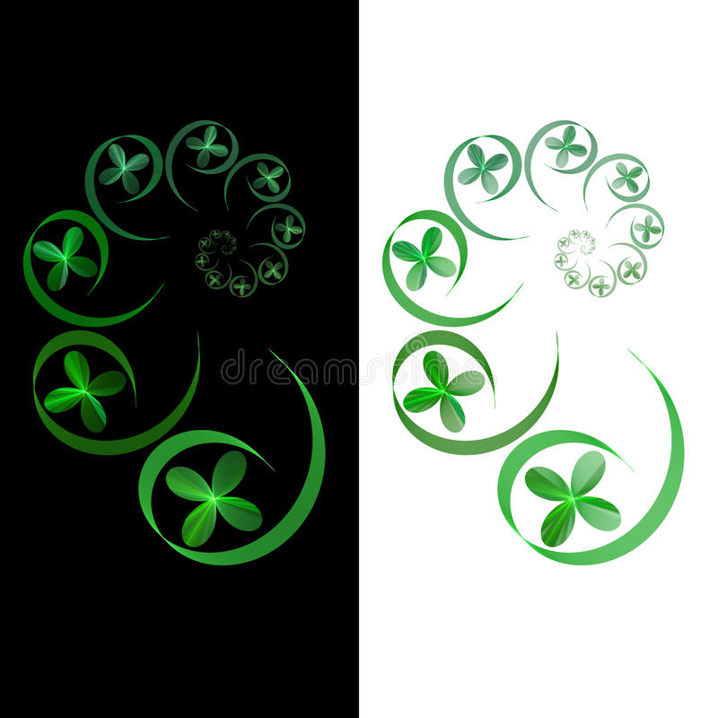 Spirale verde di frattalo su priorità bassa bianca e nera fotografia stock libera da diritti