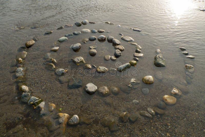 Spirale von Kiesel zu Steine, auf dem Ufer, Strand Gravedona im See Como lizenzfreies stockfoto