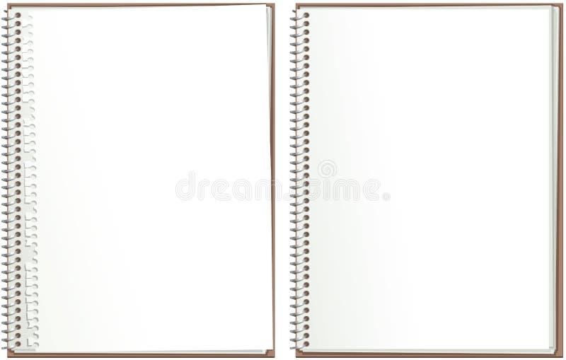 Spiralen - begränsa den pappers- notepaden stock illustrationer