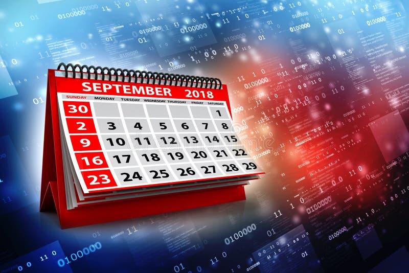 Spiralen-Kalender September-2018 im digitalen Hintergrund 3d übertragen stock abbildung
