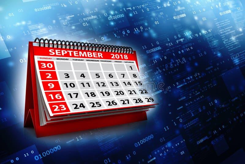 Spiralen-Kalender September-2018 im digitalen Hintergrund 3d übertragen lizenzfreie abbildung