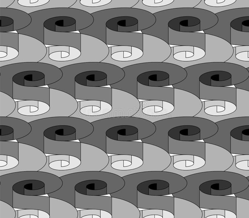 Spiralen mit Volumen-Effekt Nahtloses einfarbiges Muster Geometrischer abstrakter Hintergrund Passend für Gewebe, Gewebe, verpack stock abbildung