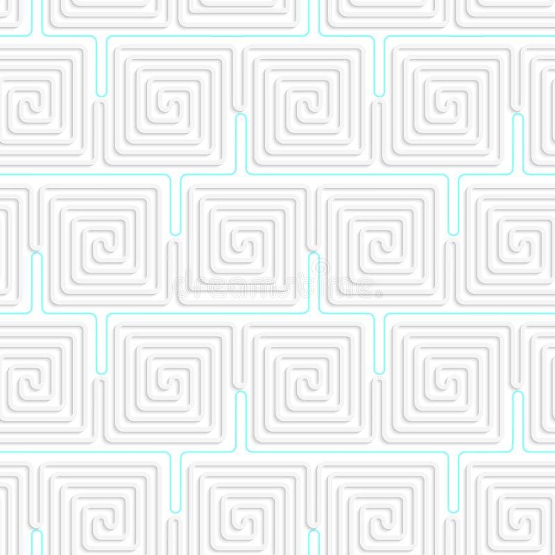 Spiralenquadrate des Weiß 3D mit Blau stock abbildung