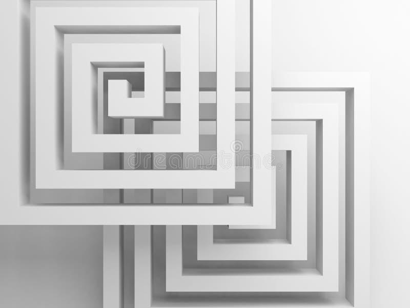 Spirales carrées abstraites au-dessus de blanc, 3 d illustration de vecteur