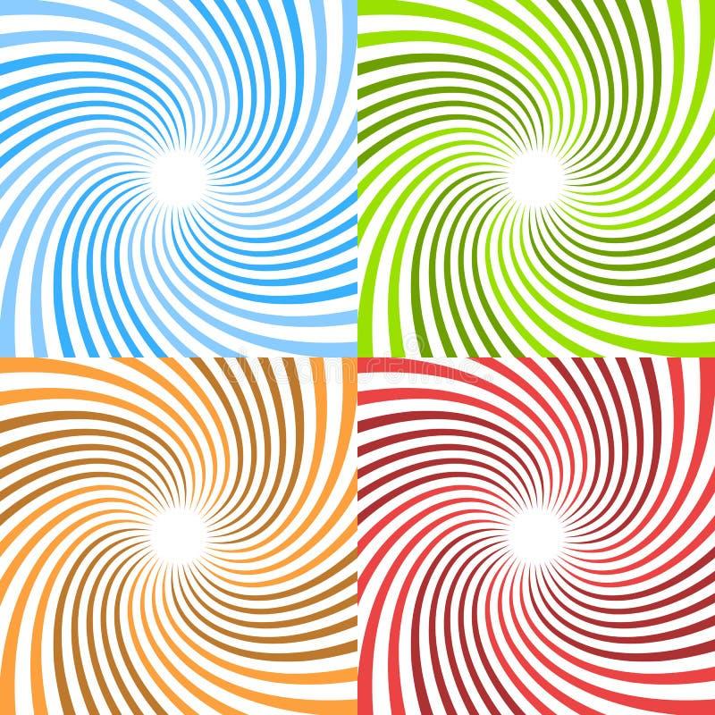 Spirales tordues Rayons circulaires, patte de rayon de soleil de starburst de faisceaux illustration libre de droits