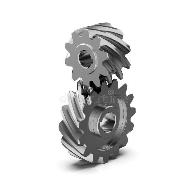 Spiralformigt fasat kugghjul Sakta kugghjuldrev framförande 3d stock illustrationer