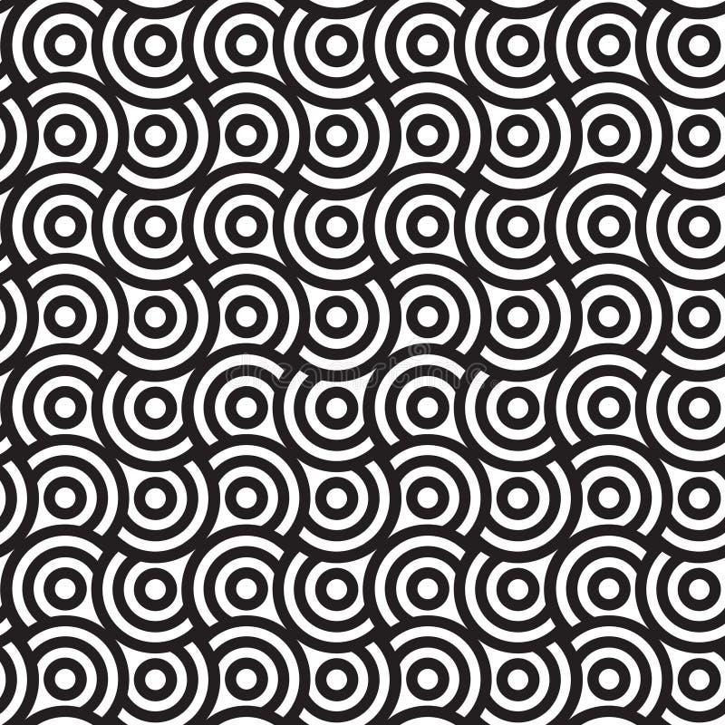Spirali e cerchi, modello senza cuciture di vettore in bianco e nero. illustrazione di stock