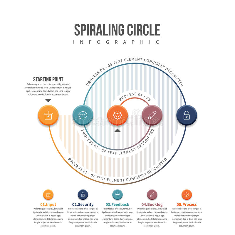 Spiraling Circle Infographic. Vector illustration of spiraling circle infographic design element vector illustration