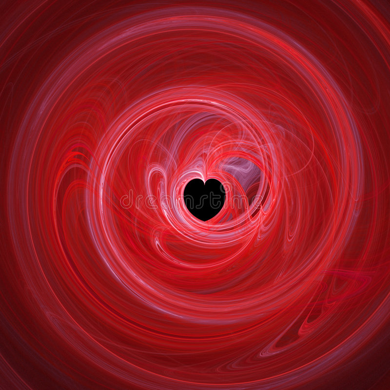 Spiralling red heart royalty free illustration