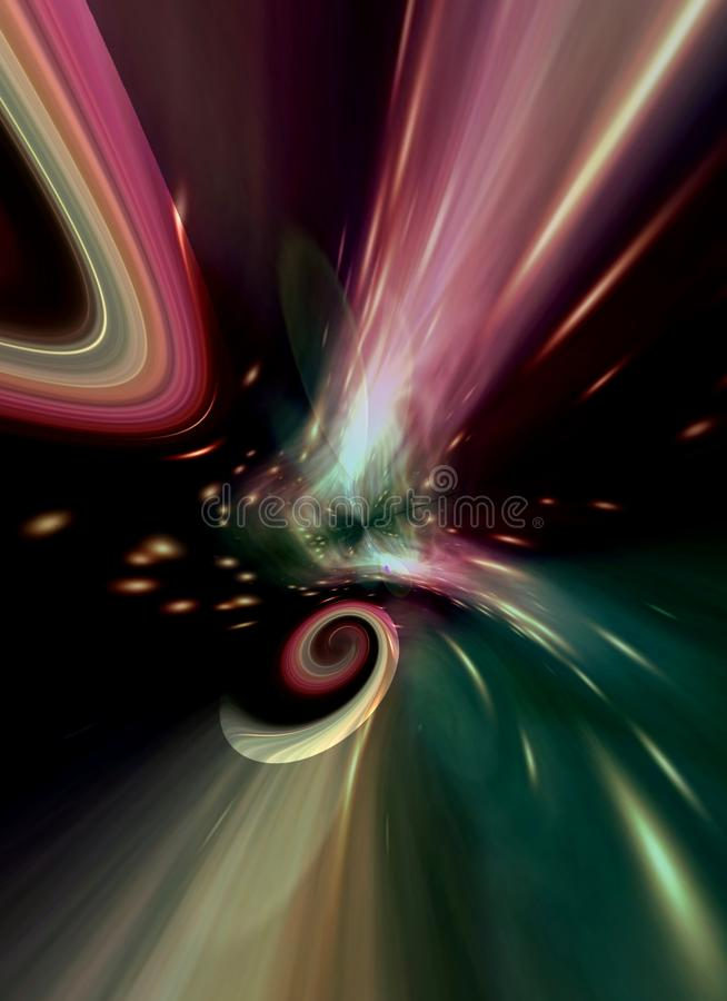 Computer generated abstract spiral galaxy in poetic colors royalty free illustration