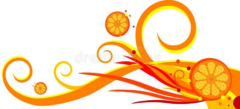 Spirals and orange. Background. Vector Illustration royalty free illustration