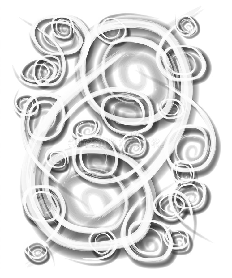 Spirals Swirls Circles White. An isolated freeform abstract texture background pattern in black and white spirals and swirls vector illustration