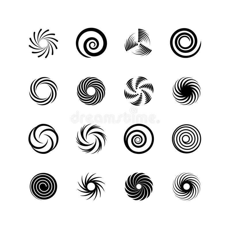 Spirals and swirls. Whirlpool and twirl. Abstract motion twisting circles isolated vector icons stock illustration