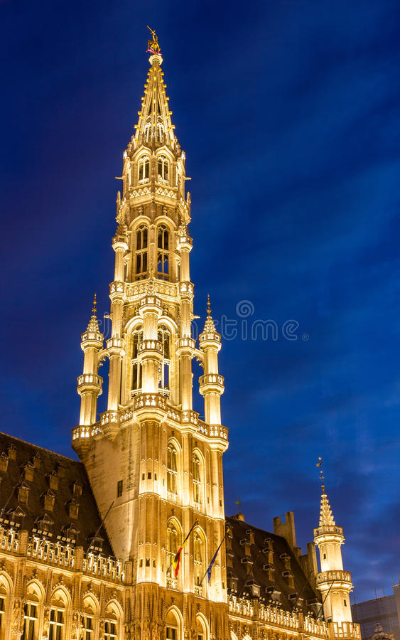 Spire of Brussels City Hall royalty free stock photos