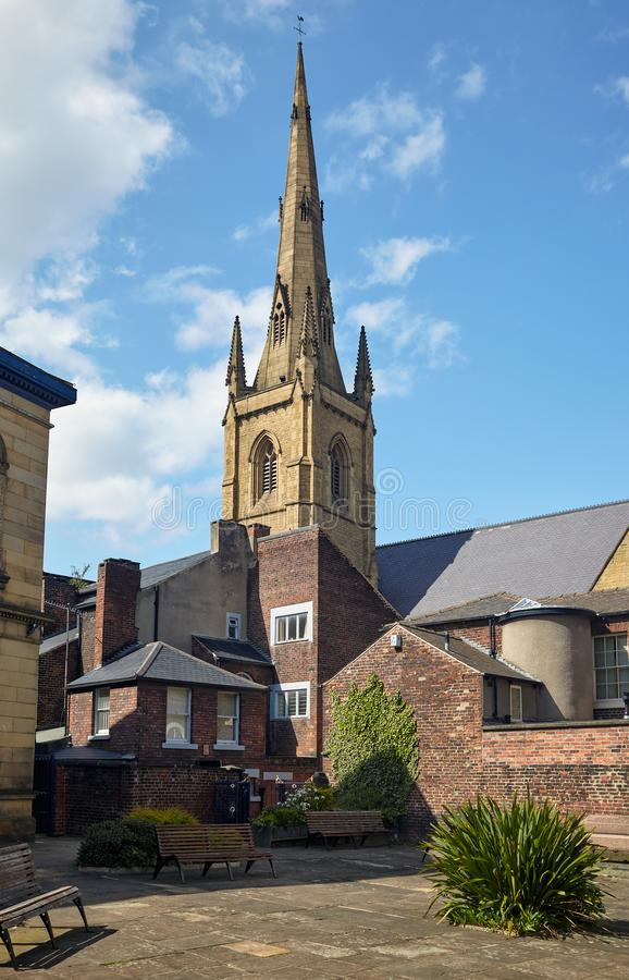 Spire of Cathedral Church of St Marie as seen from  forecourt of Upper Chapel. Sheffield. England stock image